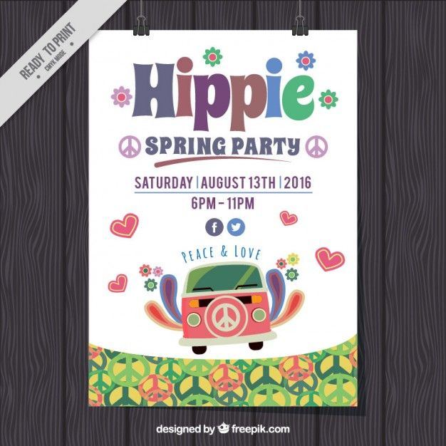 Cute Hippie Spring Party Poster Free Vector  Flyer