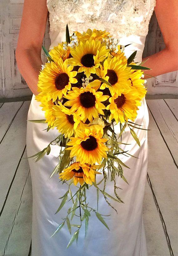 Sunflower Bouquet Cascade Sunflower Wedding Bouquet Sunflower Wedding Bouquet Sunflower
