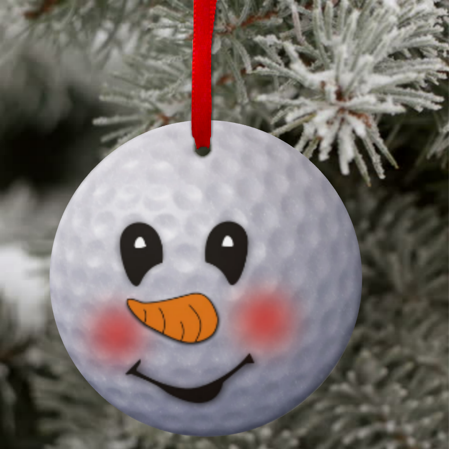 Golf Snowman Ornament Custom Golf Ball Snowman Christmas Ornament Gift Tag Personalized Golf Chris Golf Birthday Gifts Christmas Ornaments Gifts Christmas Golf