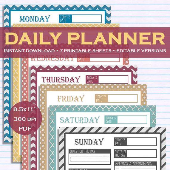 Printable \ Editable Daily Planner Kit Downloadable - 7 Colors - downloadable daily planner