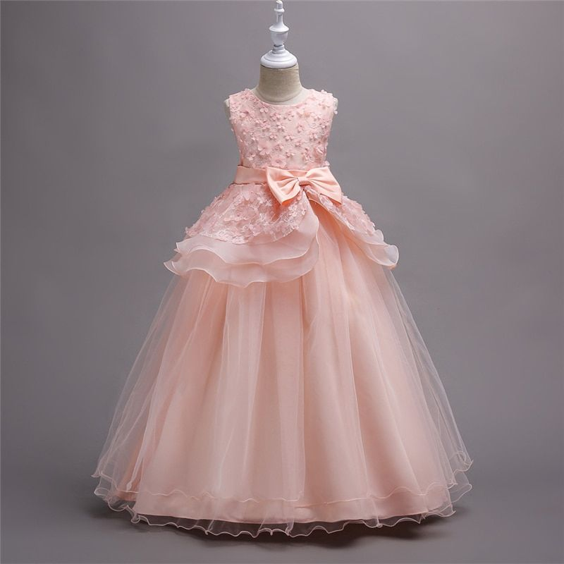 Pageant Wedding Flower Girl Princess Dress 3 4 5 6 7 8 10 12 14 16 Blush Pink