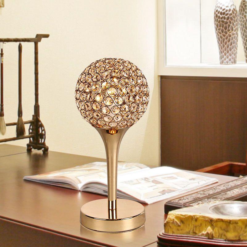 Modern Crystal Bedroom Bedside Table Light Golden Chrome Bar Counter Desk  Lighting Fixture Creative Study Room