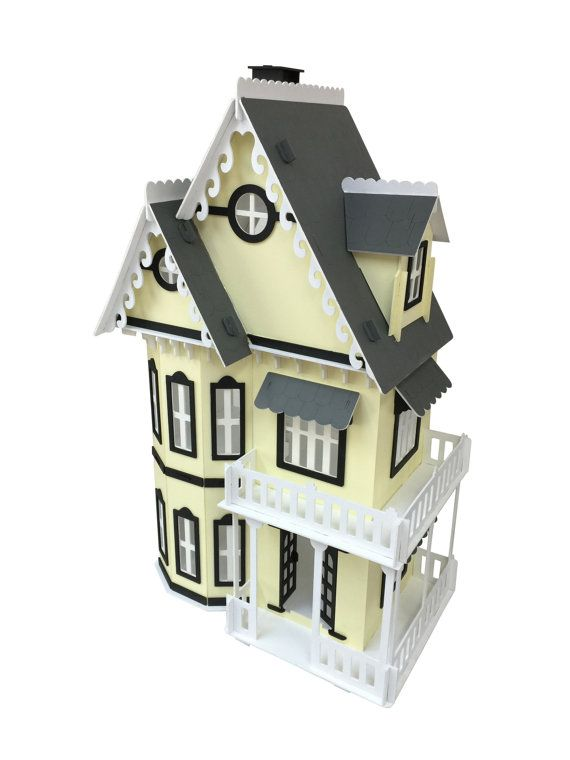 Description: This Gothic Style dollhouse model is made from a 1/8 sheet of Baltic Birch plywood and carved out on a laser machine. It will come painted and assembled. It is approximately 21 wide x 12.5 deep x 33 high. Each room is approximately 9 tall. If you would like certain colors, please include a message during checkout with what colors you would like; Otherwise, it will come how it is in the picture.  Shipping: Due to high demand, please allow 4-6 weeks handling time for your item to…