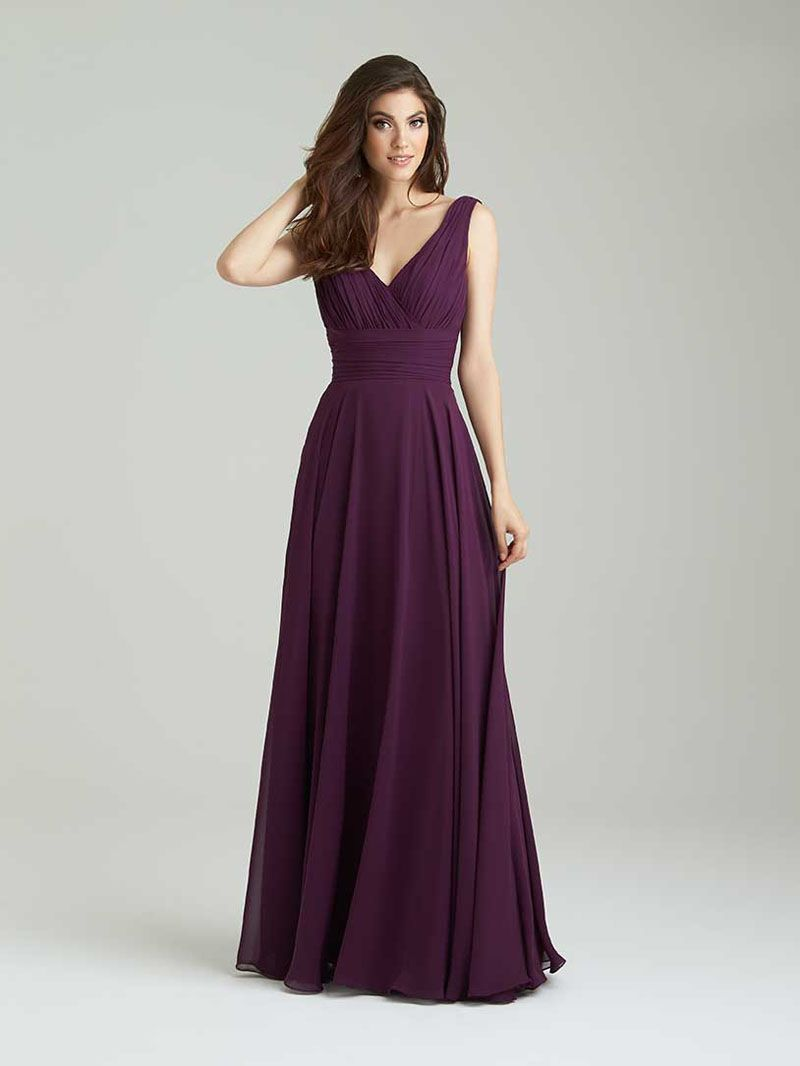5cd1b8231bd85 Plum A-Line V-Neck Sleeveless Chiffon Formal Floor Length Bridesmaid Dress  Cowl Back