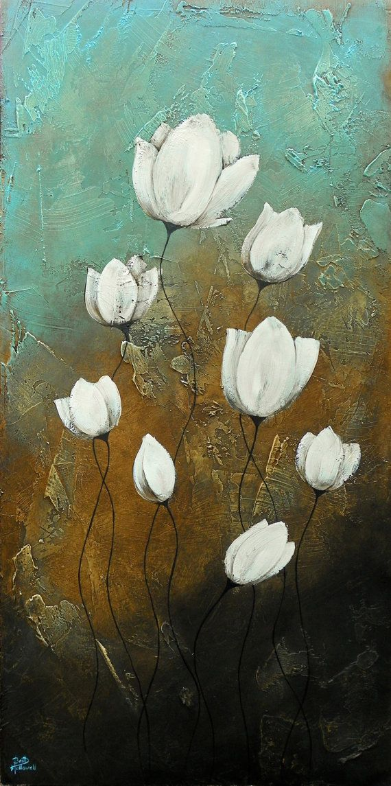 This is an original textured painting of abstract lotus flowers. This is one of my absolute favorite paintings! It is so pretty in person and has a                                                                                                                                                                                 More