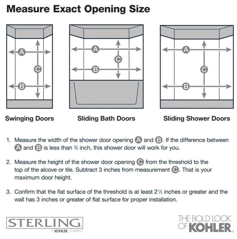 Kohler Levity 56 625 In To 59 625 In W Frameless Bypass Sliding