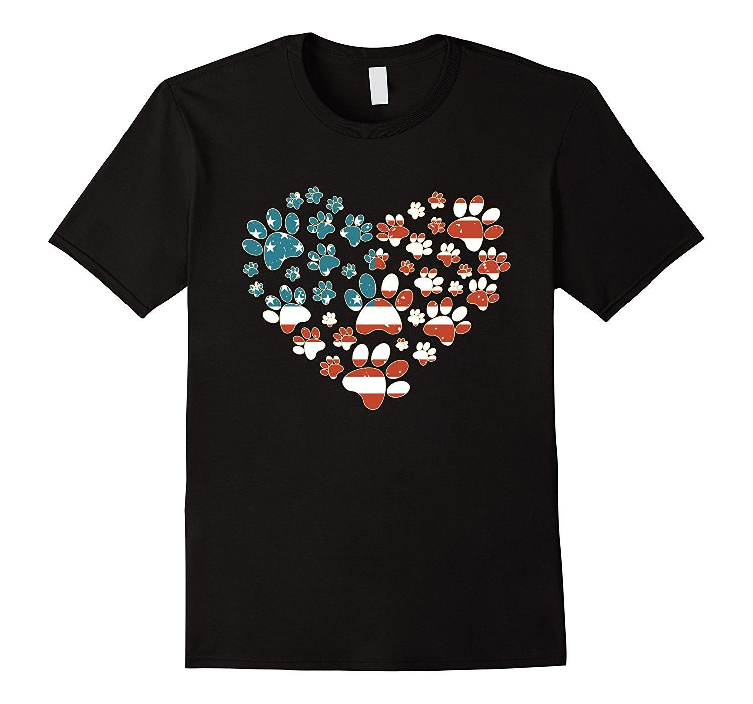USA FLAG shirt for Who loves Dogs: DOG FOOTPRINT with HEART