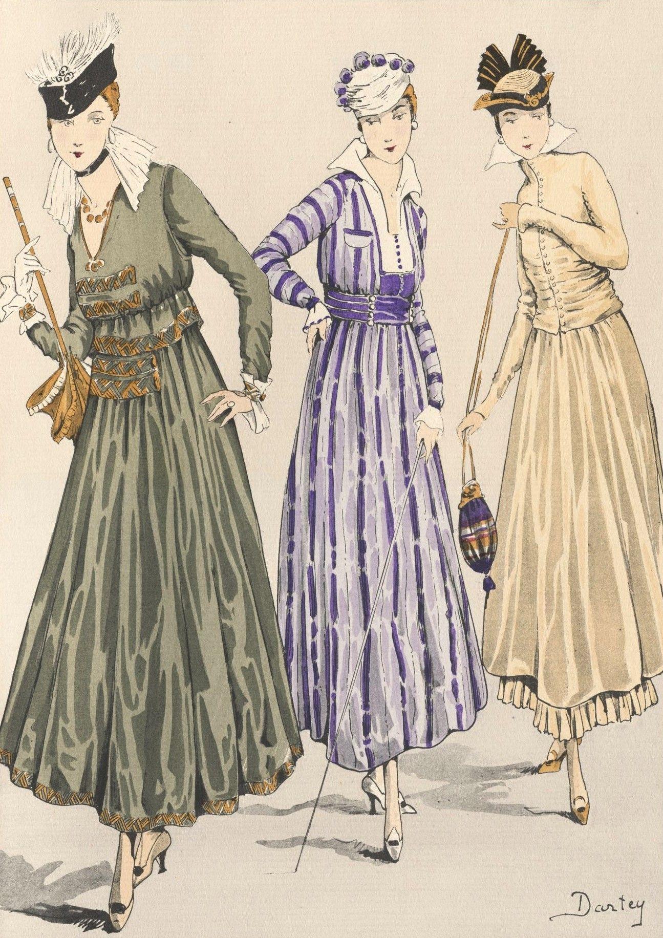 """Petites robes en soie - Diseños de """"Le Style Parisien"""" - Tejidos de Coudurier, Fructus y Deschaer - 1915 - Dibujos de Dartey"""