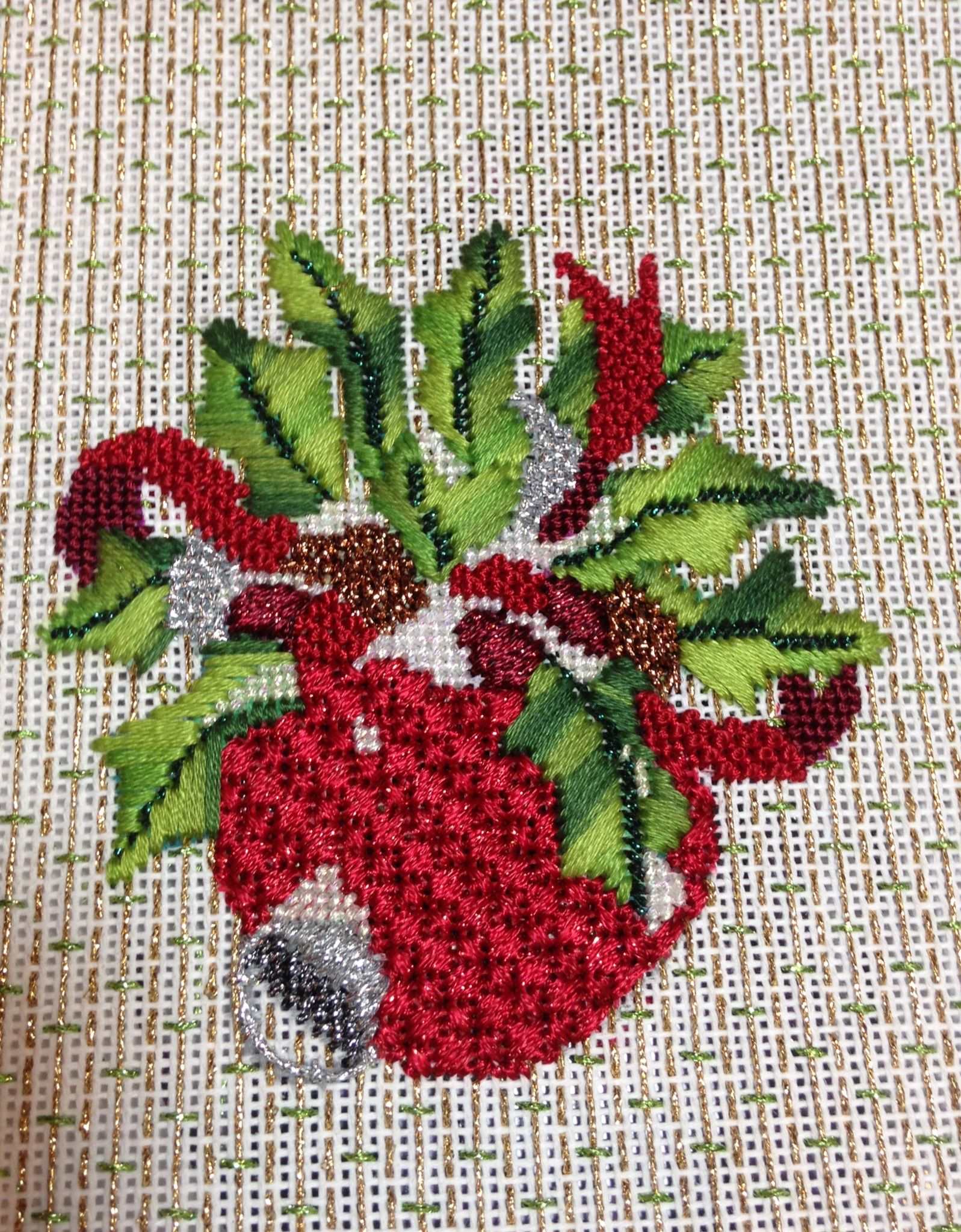 December flower of the month, holly needlepoint