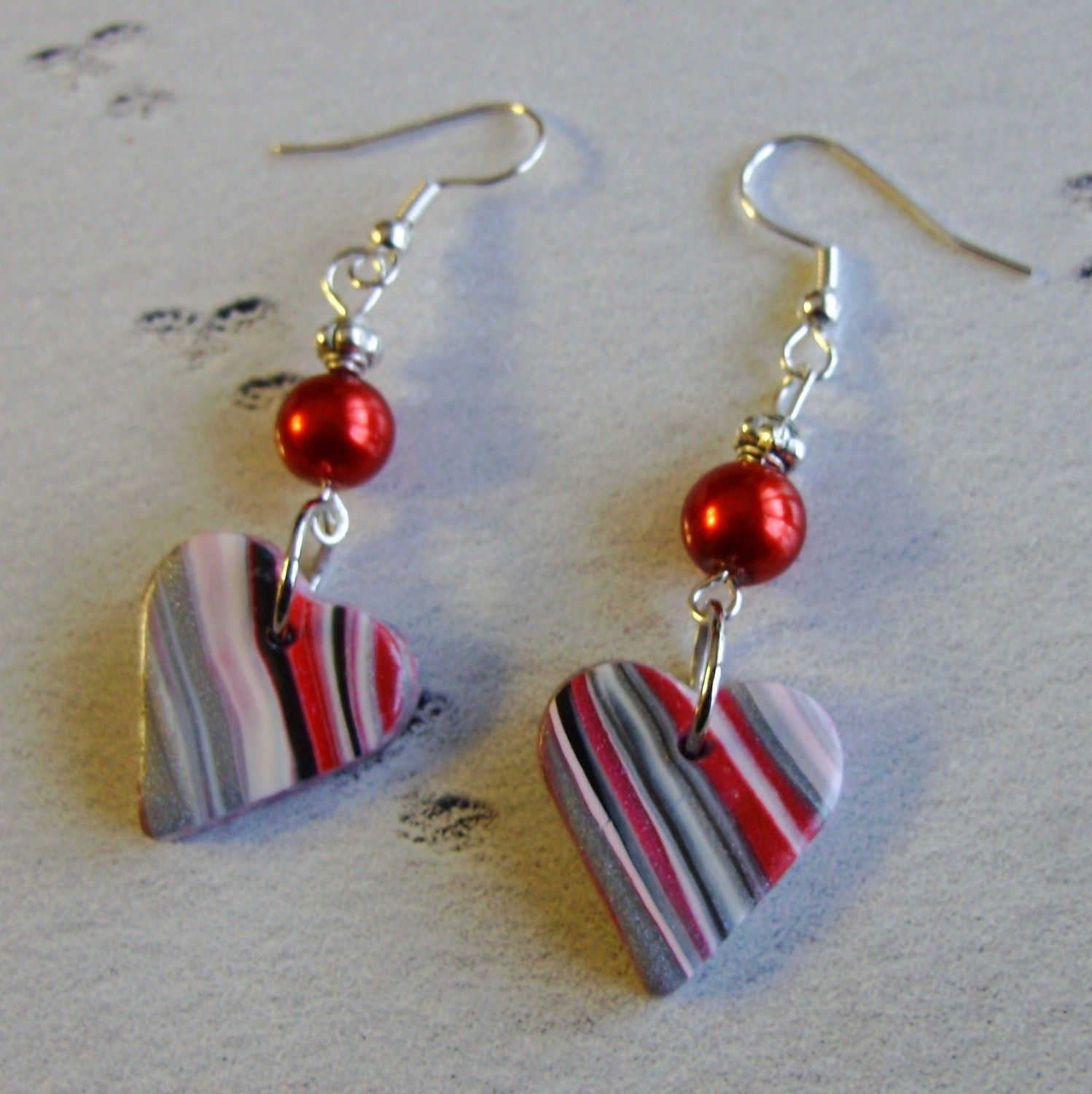 Womens Red And Black Heart Earrings Christmas Birthday Party Gift...