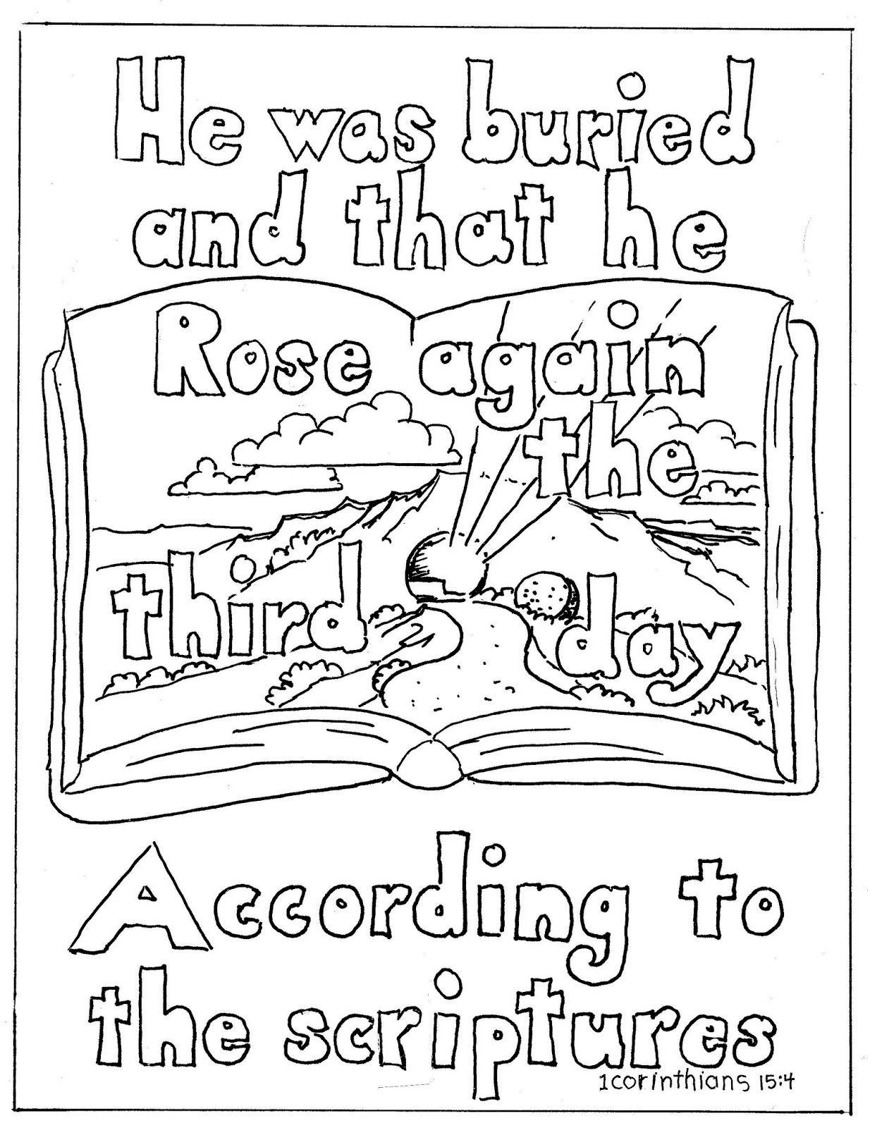 1 Corinithians 15 4 Coloring Page Christ Rose Again