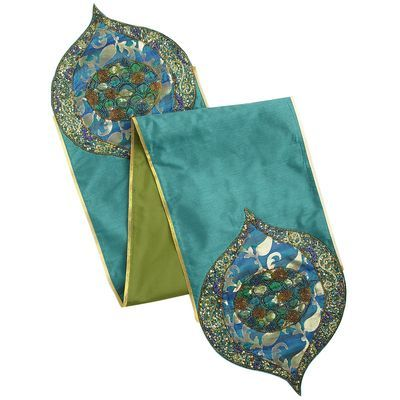 Emerald Brocade Table Runner Hipster Decor Table Runners Table Linens