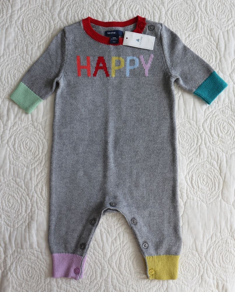 2ce82d413fe8 NWT Baby GAP Girls HAPPY Rainbow Gray Sweater Romper One Piece 0 3 M ...