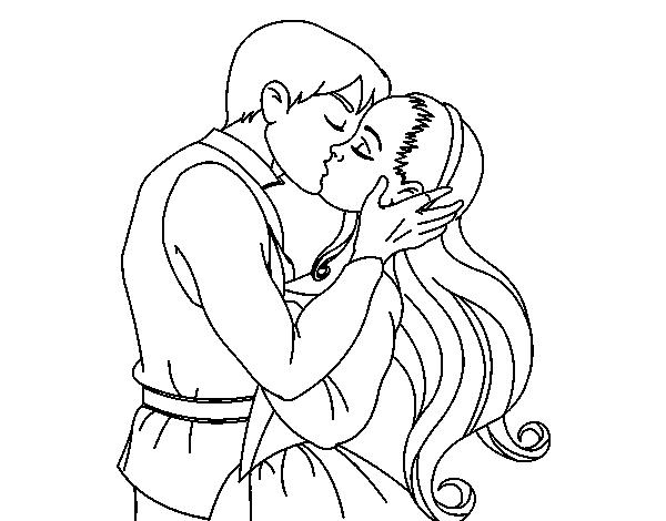 Nino Para Colorear Para Para Un Nino Leyendo Para Colorear: Dibujo De Beso De Amor Para Colorear