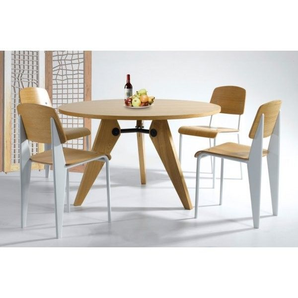 Jean Prouve Style Gueridon Table Chair Set Round Dining Table