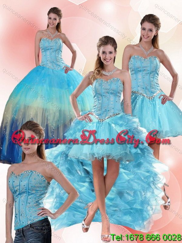 a81c3bf1d2 Detachable Multi Color Sweetheart Quinceanera Dress with Ruffles and Beading