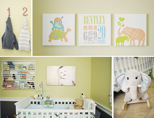 Beautiful nursery for baby Bentley. Trendy Peas' canvasses were customized to match the lovely colors in this room. Bright and cheerful.