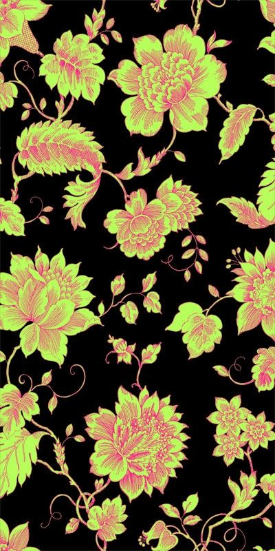 This Wallpaper Design With A Dark Background And Neon Flowers Is Show Stopping Acid Floral Toile