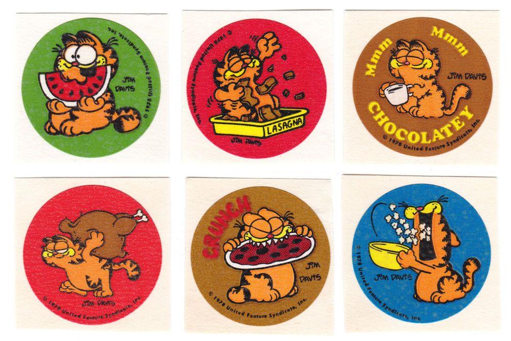 MATTE Scratch /& Sniff Pizza Vintage Garfield Stickers Mint!!