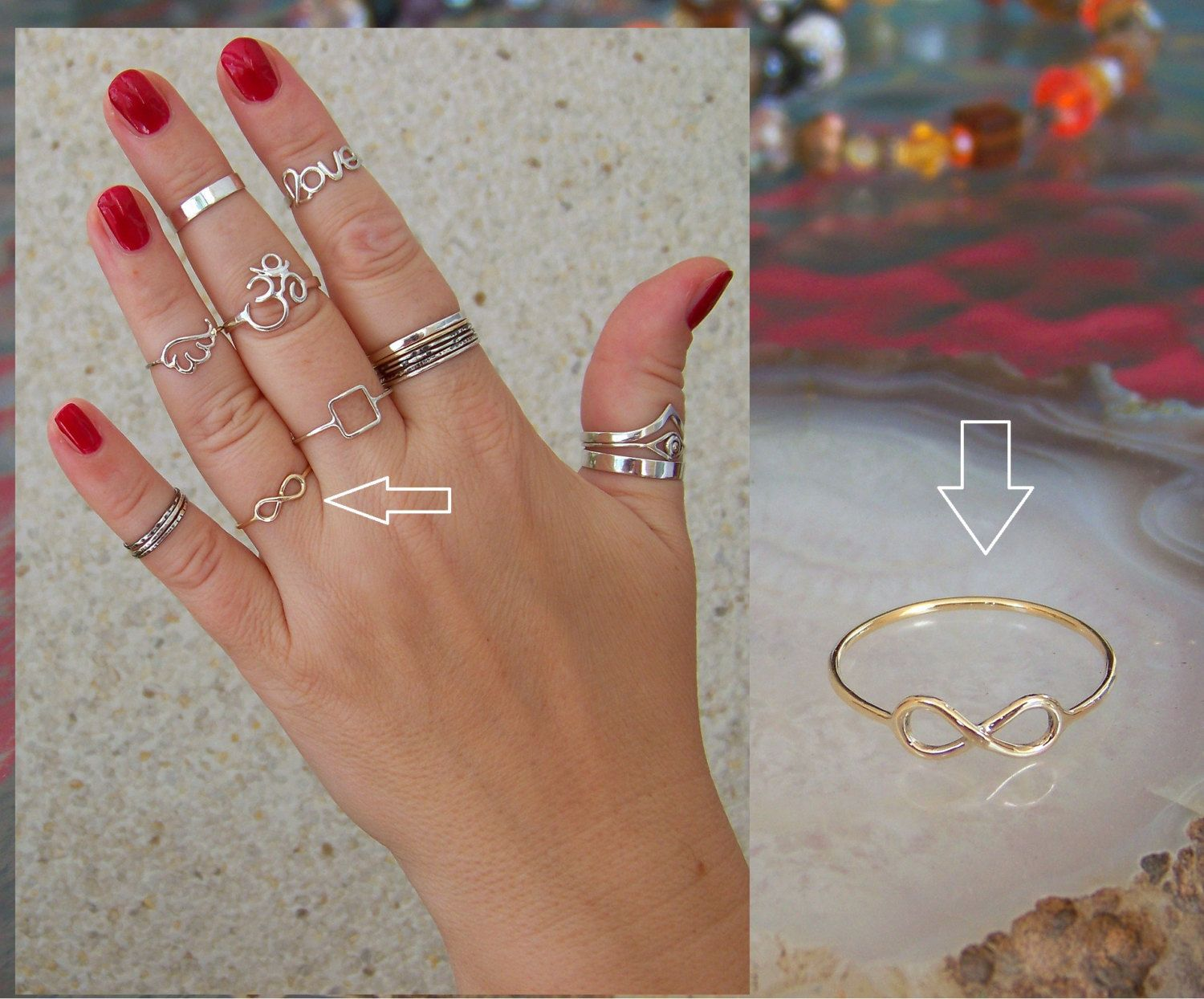 INFINITY ring Solid 9ct (375) GOLD Band Ring Midi Ring Toe Ring ...