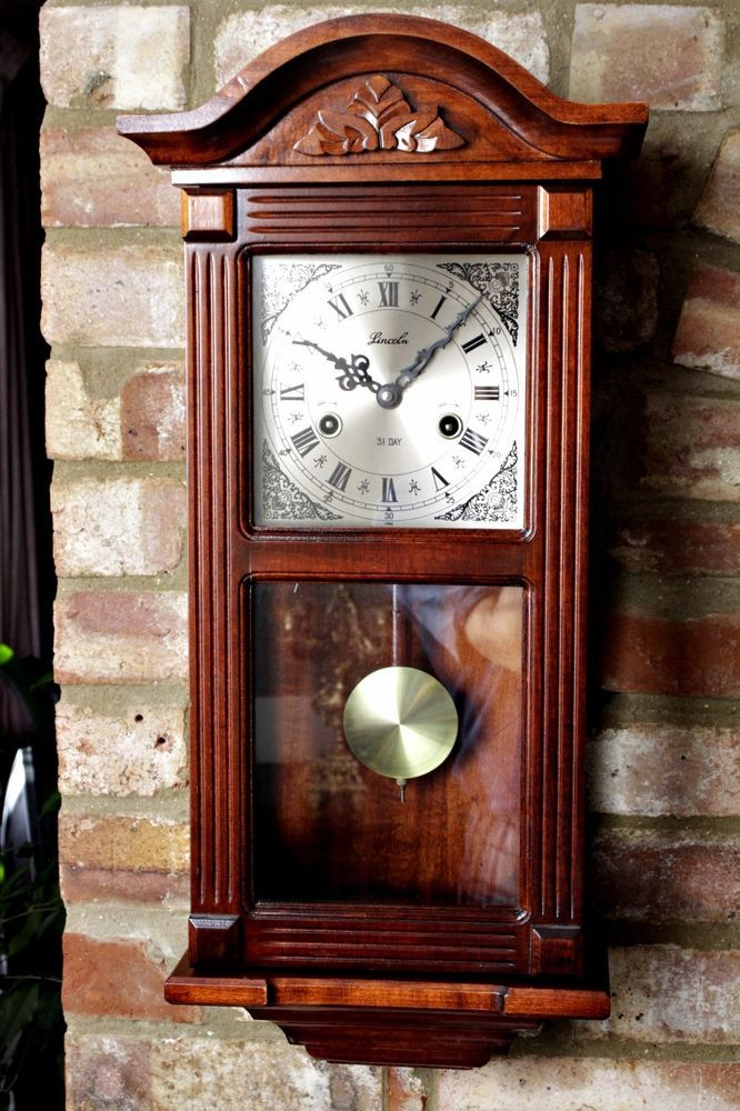 Vintage Lincoln 31 Day Wall Clock With Chimes Antique Wall Clocks Clock Chiming Wall Clocks
