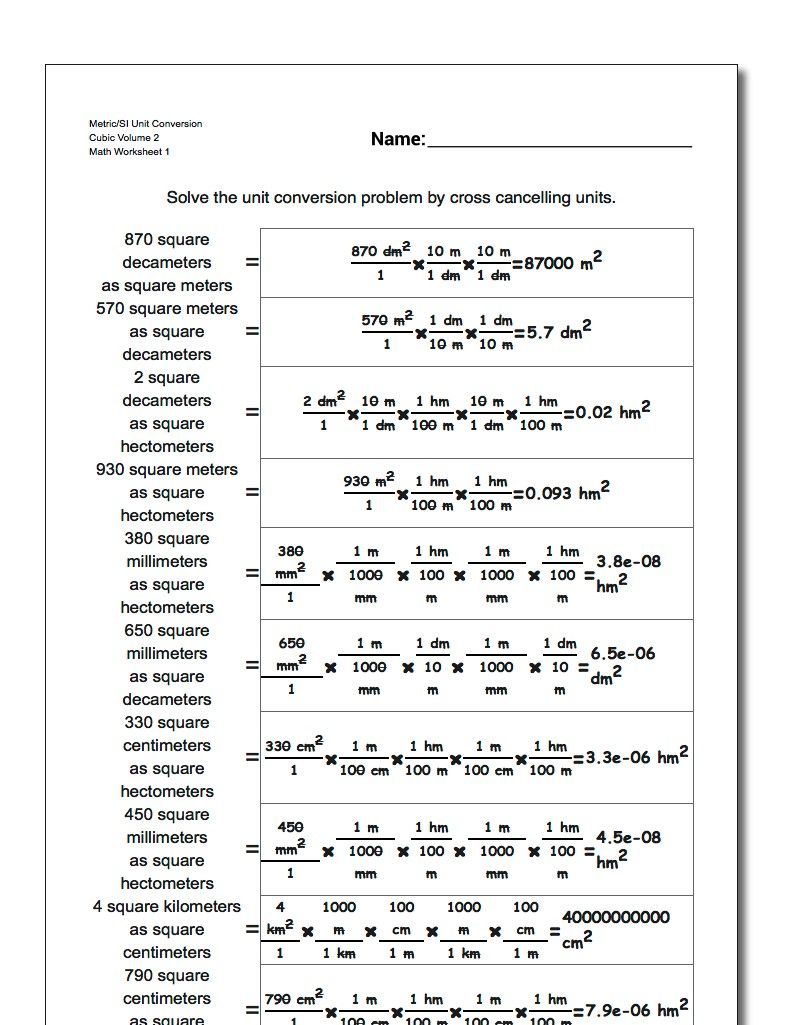 Metric Si Unit Conversion Worksheet Cubic Volume 2 Metric Si