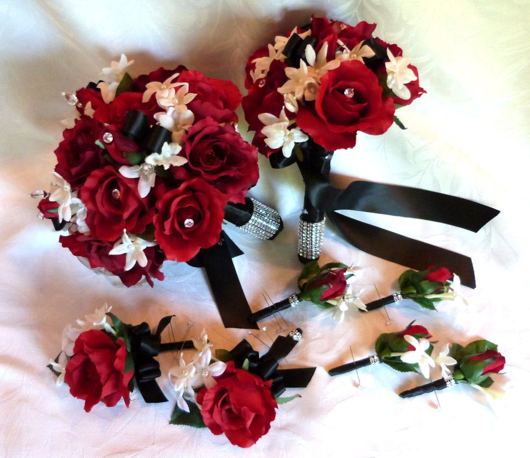 Red rose bouquet red white black wedding bouquet and boutonniere ...