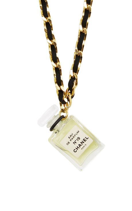 Chanel Black Gold N19 Perfume Necklace by What Goes Around Comes