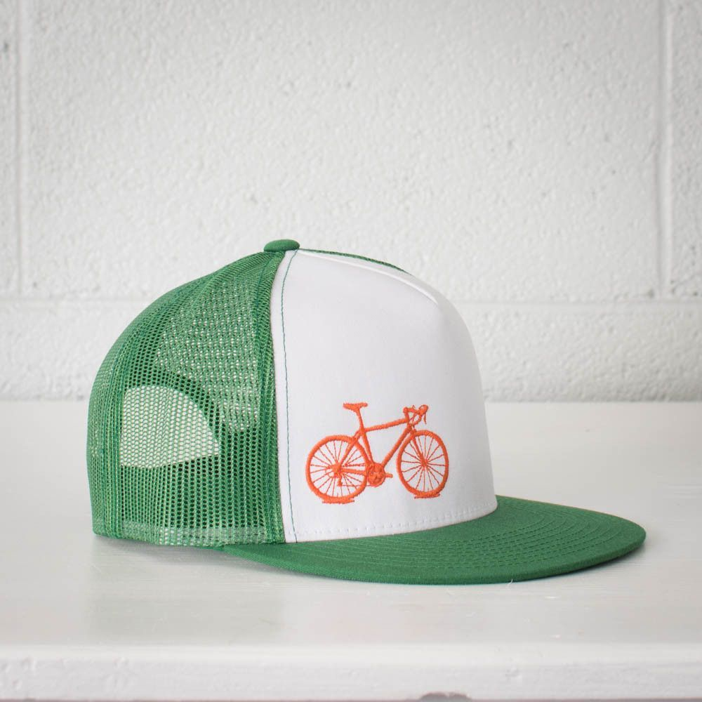 Truck along in style with our bright Vital bike embroidered on these bold  mesh snap back hats. Manufactured in Vietnam f89efa4e92c1