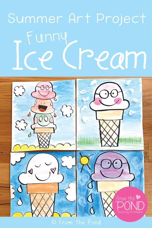 Draw and paint a funny ice cream for a whimsical summer art project.
