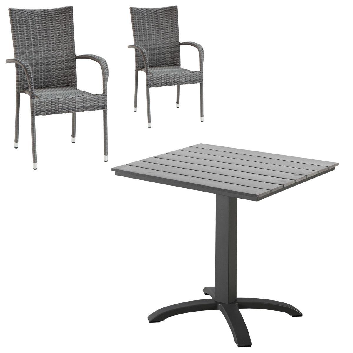 Gartenmöbel Set Miami/ Palermo (Cafétisch, 2 Stühle, grau) Jetzt