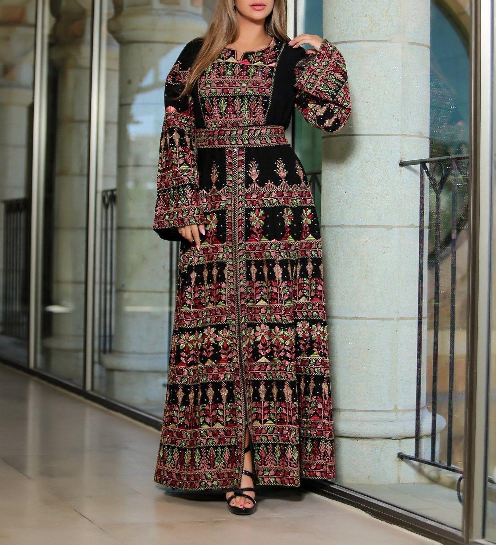 Version 2 2 Queen Thobe Embroidered Palestinian Maxi Dress Long Sleeves Kaftan Palestinian Design And Embroidery Long Sleeve Maxi Dress Dresses Long Maxi Dress [ 1501 x 1365 Pixel ]