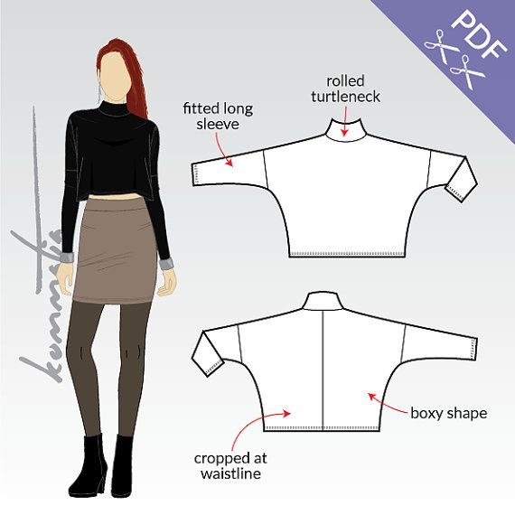 Oversized crop top with long sleeves and turtle neck. Pattern ...