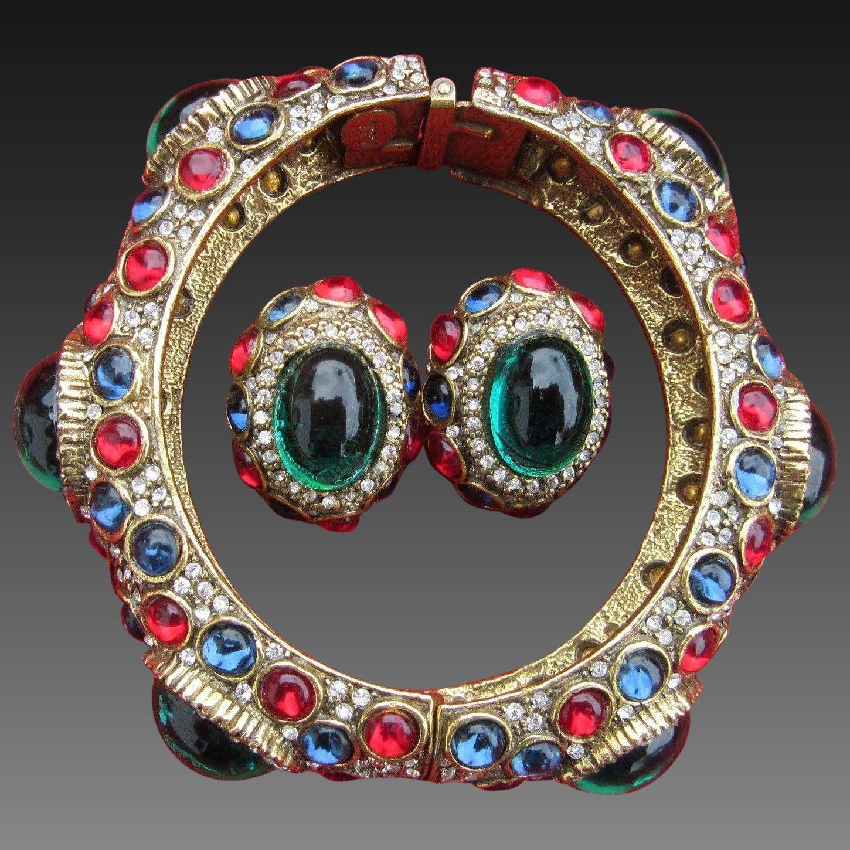 K.J.L. KENNETH J. LANE 1960's 'Jewels of India' Moghul Bangle Bracelet and Clip Earrings Set