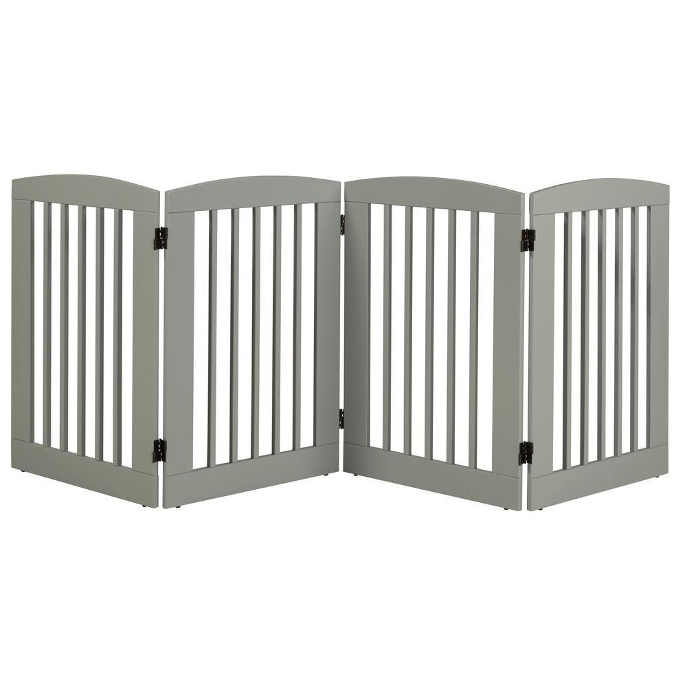 Camaflexi Ruffluv 36 In H Wood 4 Panel Expansion Grey Pet Gate 453604 Pet Gate Freestanding Dog Gate Home Decor