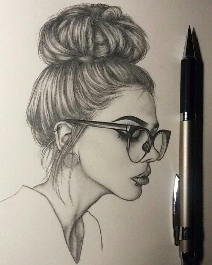 Messy bun girl sketch art work | Drawings And Wallpapers And Art ...