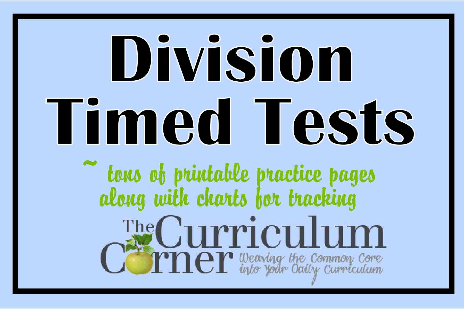 Division Timed Tests Practice Pages