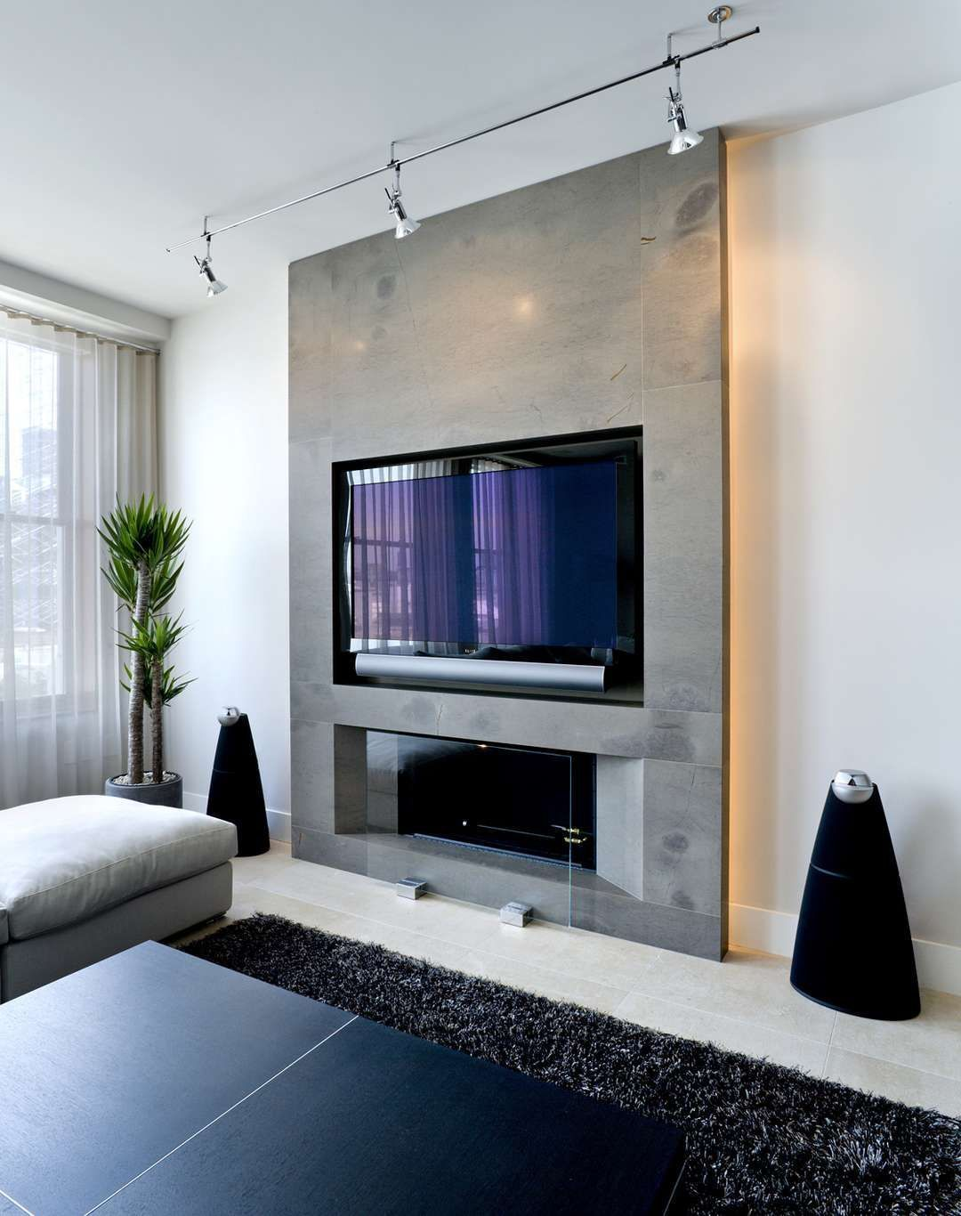 Living Room Feature Wall Decor: 58 Modern Fireplaces With TV Ideas That Will Make You