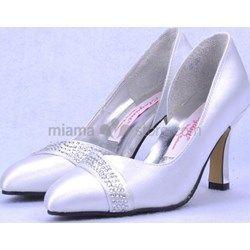 Pointed toe Satin Rubber sole Wedding shoes www-miamastore-com blu
