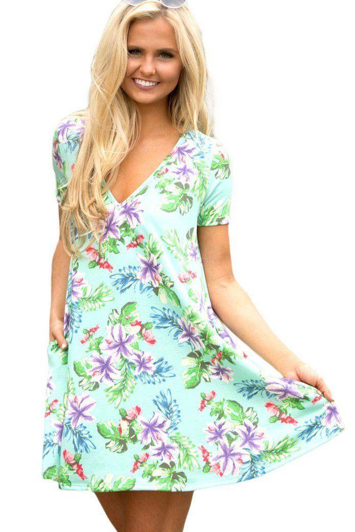 Pocket Design Summer Light Green Floral Shirt Dress ChicLike.com  Green 95f194e3c