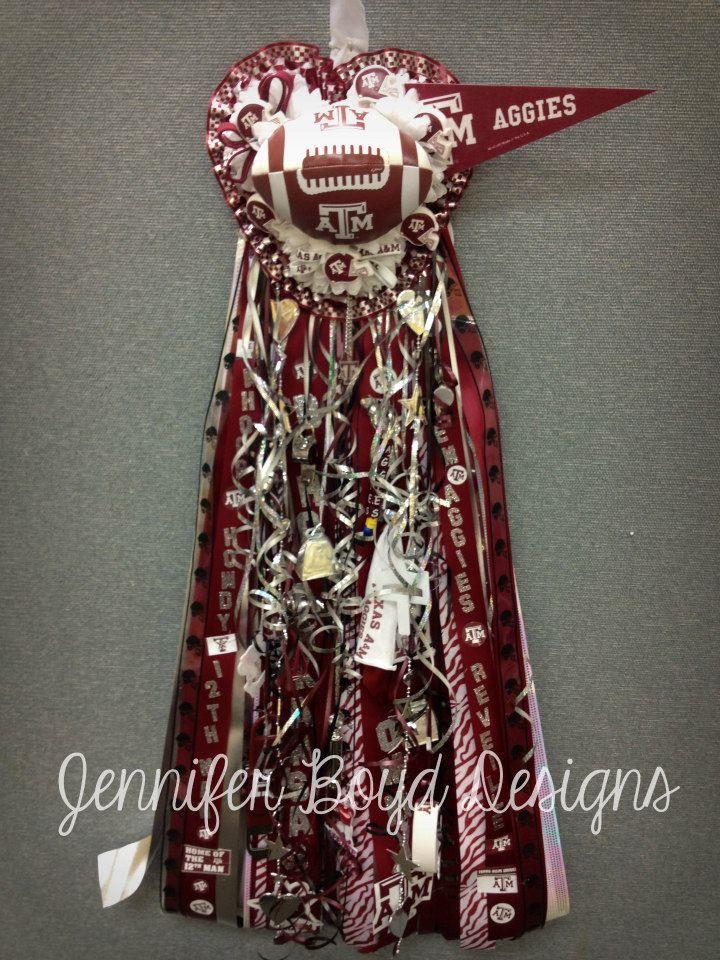 Texas A M Aggies Homecoming Mum By Jennifer Boyd Designs Www Facebook Com Jenniferboyddesigns Jenniferbo Homecoming Mums Homecoming Spirit Homecoming Corsage