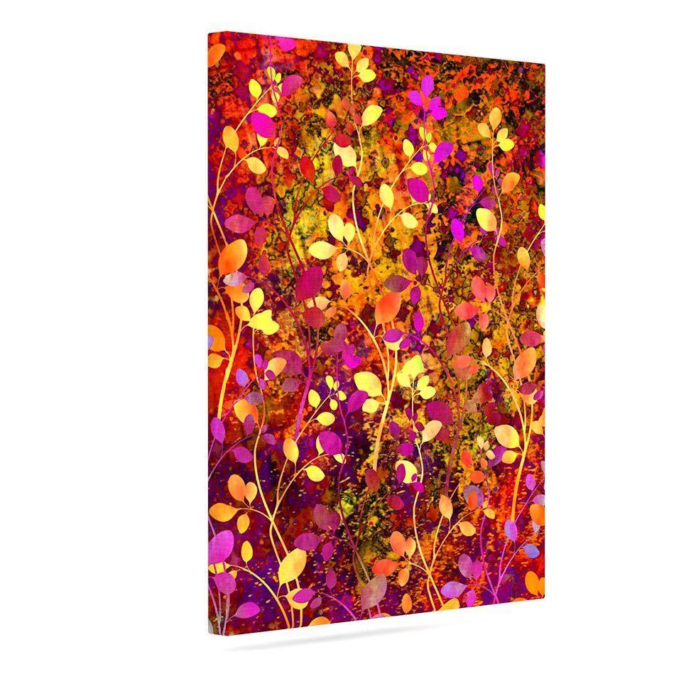 "Ebi Emporium ""Amongst the Flowers - Warm Sunset"" Pink Orange Outdoor Canvas Art"