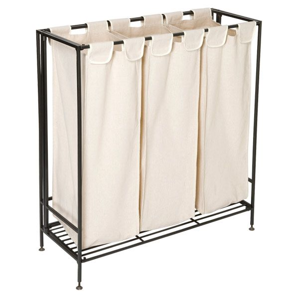 The Container Store 3 Section Iron Folding Hamper Laundry