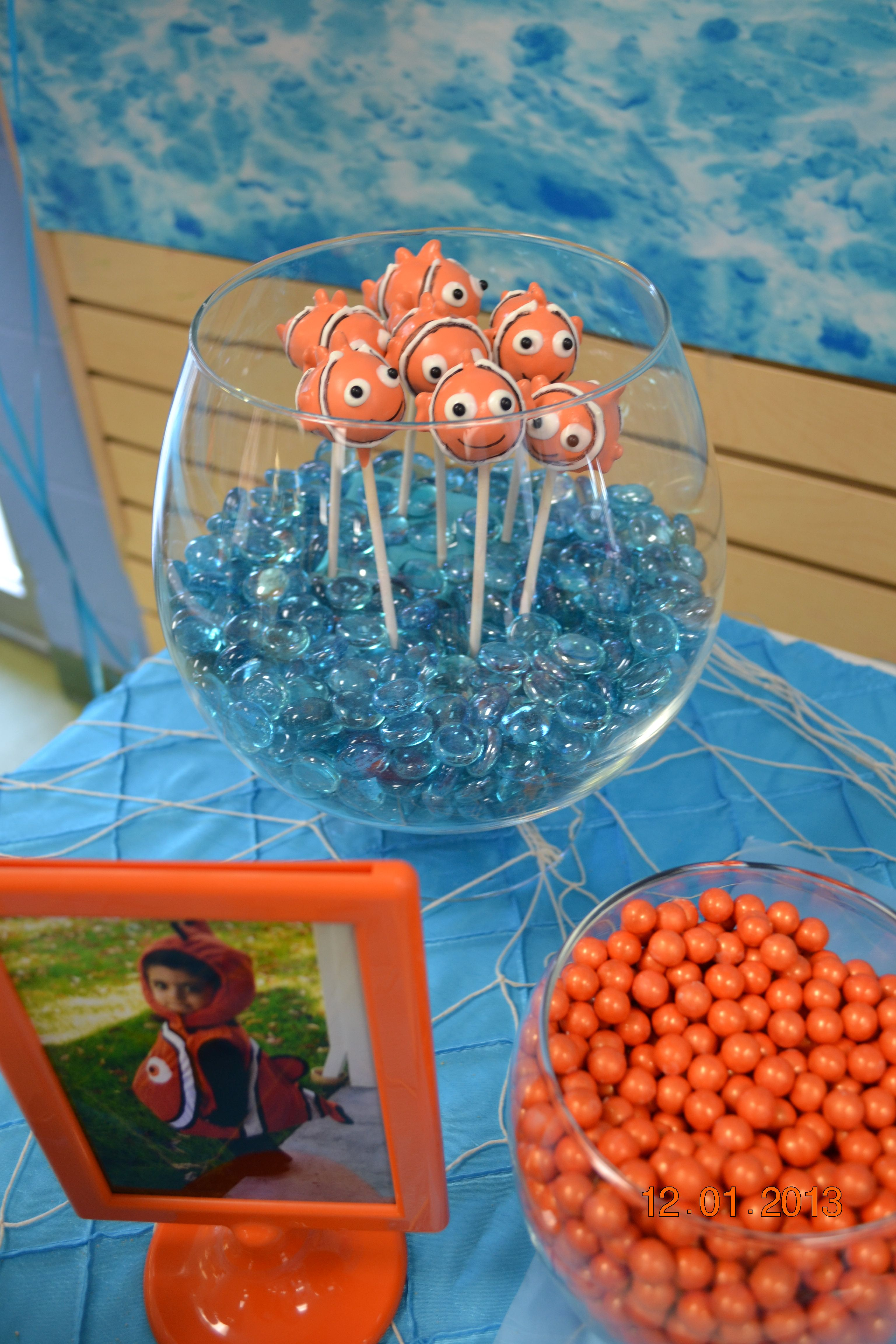 Nemo Cake Pops In Marblefilled Fish Bowl Our Parties - Nemo fish birthday cake