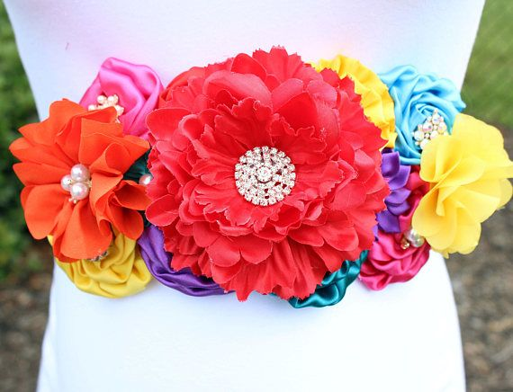 This Gorgeous Multicolored Mexican Fiesta Maternity Sash Is
