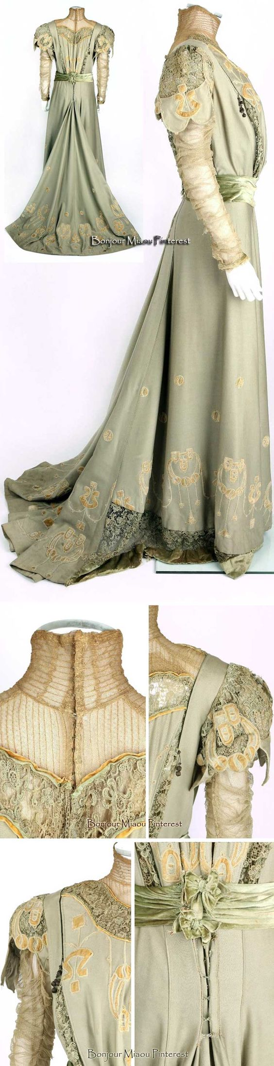 Afternoon dress ca. 1905. Sage green wool with applications of tan velvet. Net…: