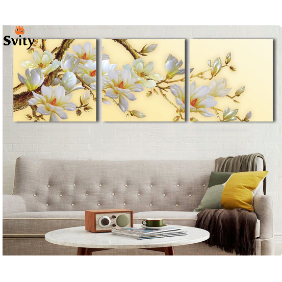 3 Set Modern 3d White Orchid Flower Painting Canvas Wall Art Flowers Home Decor 3d Canvas Art Flower Wall Art Flower Painting Canvas Wall Art Living Room