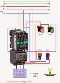 Esquemas eléctricos: Puesta marcha motor trifasico parada marcha