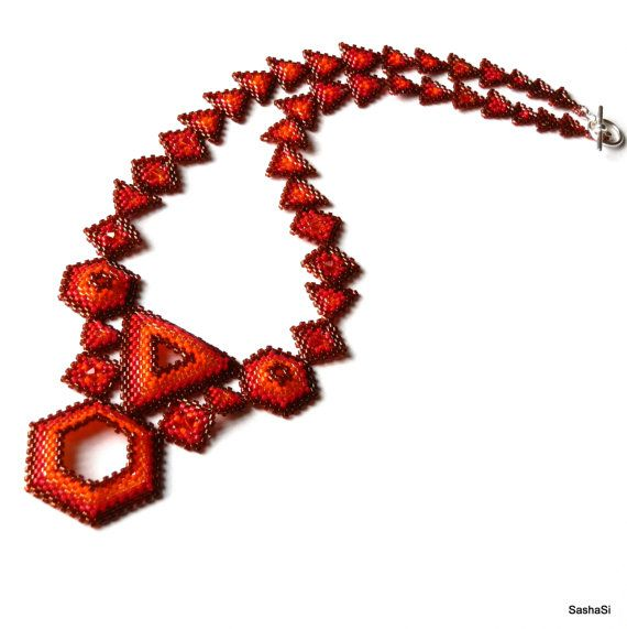 The Art of Geometry - Geometric Necklace - Beadwoven Necklace