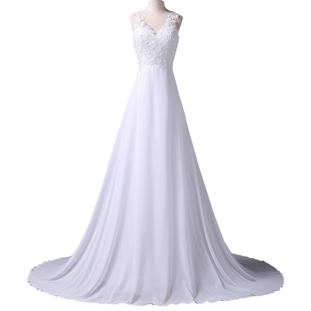 Sleeveless vneck chiffon long tail wedding dress with lace